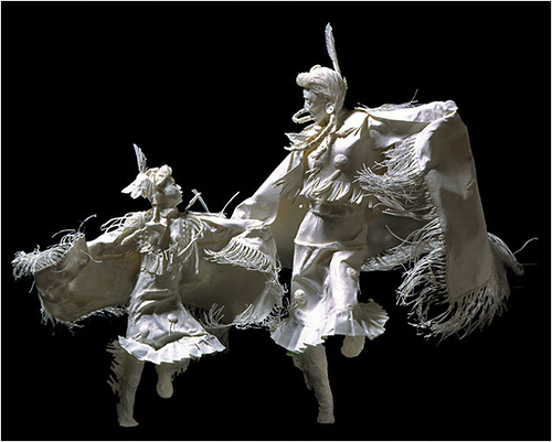 Powwow Practice. Paper Sculpture by American artists Allen and Patty Eckman
