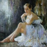 Resting ballerina, painting by Russian realist artist Anna Vinogradova
