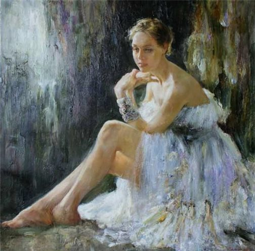 Ballet in paintings. Resting ballerina, painting by Russian realist artist Anna Vinogradova