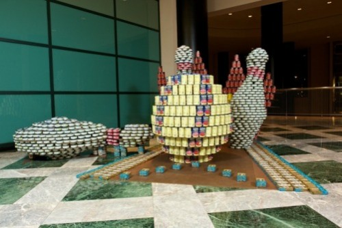 Sculptures made out of different canned food brands. World Financial Center, New York