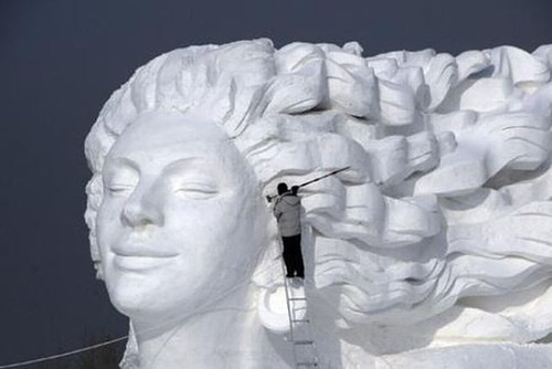 Snow sculptures at the Sapporo Snow Festival in Japan