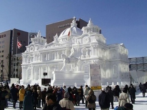 Snow sculptures at the Sapporo Festival in Japan