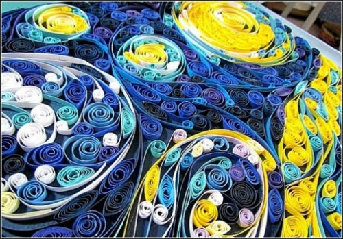 Paper quilling version of Van Gogh's Starry Night by American artist Susan Myers