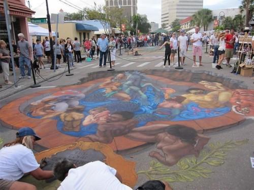 Street art at Burns Square, Sarasota Chalk Festival