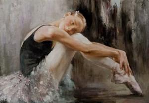 "The beginner, from series ""Russian ballet 21st century"", Russian realist artist Anna Vinogradova"