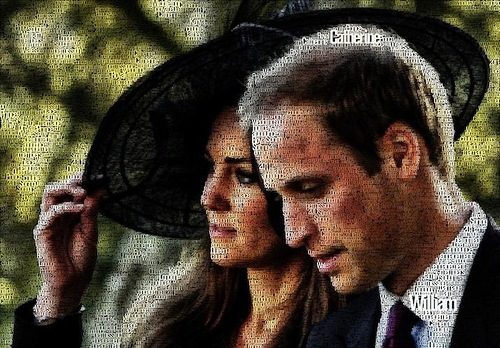 Prince William and Kate Middleton. Typographic Portrait