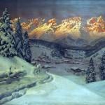 Kitzbühel in winter. Painting by Austrian artist Alois Arnegger