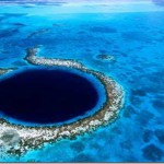 World-renowned Great Blue Hole - the main attraction of the picturesque, ecologically perfect neat Belize (formerly British Honduras) - States in Central America, on the Yucatan Peninsula