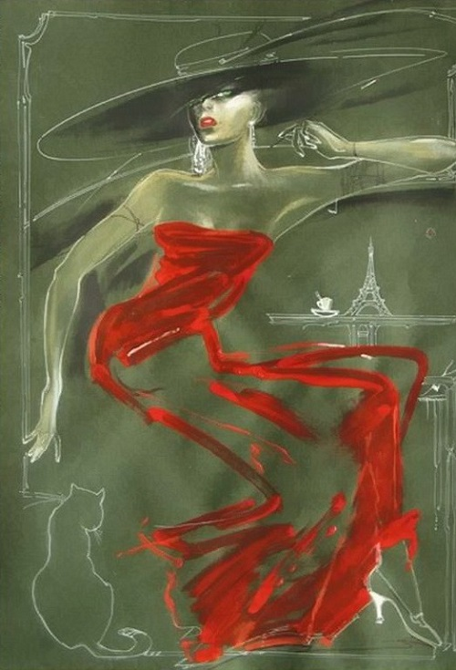 Lady in red - painting by Belarus/Russia artist Nady Gepp