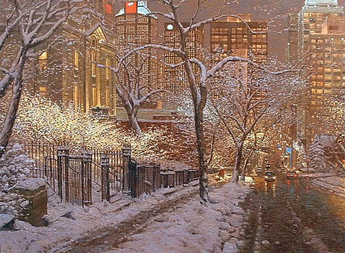 Winter beauty in painting by Canadian artist Richard Savoie