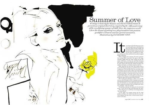 Drawing by fashion illustrator David Downton