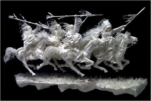 lancers on rocky ground. Paper Sculpture by American artists Allen and Patty Eckman