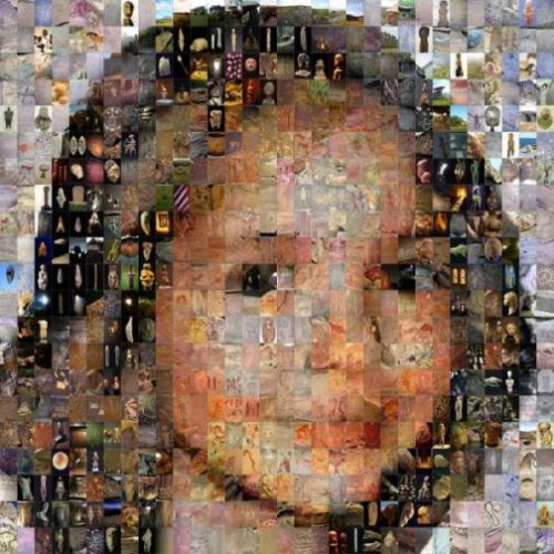 Mosaic portraits of friends, made of small photos of masterpieces of classic painters. Art in Art by Maxim Ksuta