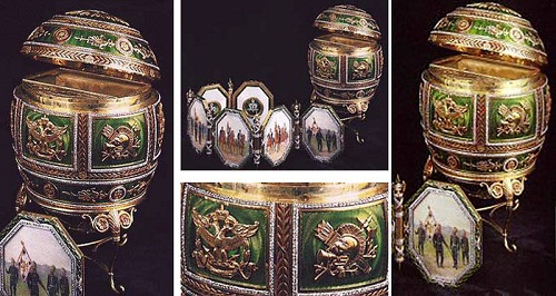 "Egg ""Napoleon."" Made in 1912 by court jeweler Carl Faberge firm. Master jeweler Henry Wigstrom. Egg size - 11.8 cm"