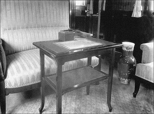 Russian Emperors train. A table with an inkstand