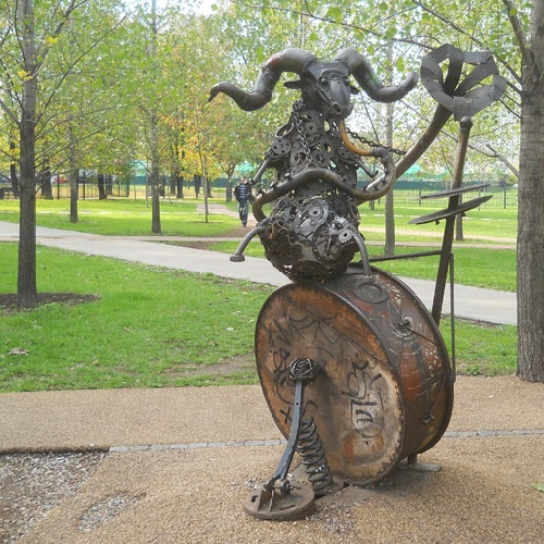 Aries - joker and musician. Zodiac sculpture made by Moscow sculptor Andrey Aseryants