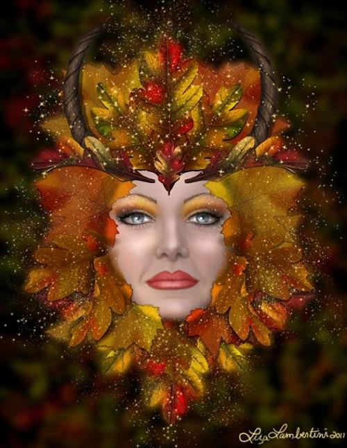 Autumn green woman. Fantasy painting by American artist Liza Lambertini