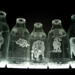 Beautiful Milk Bottle Engravings created by English artist Charlotte Hughes-Martin