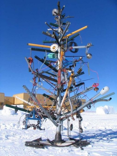 Christmas tree made of Recycled things