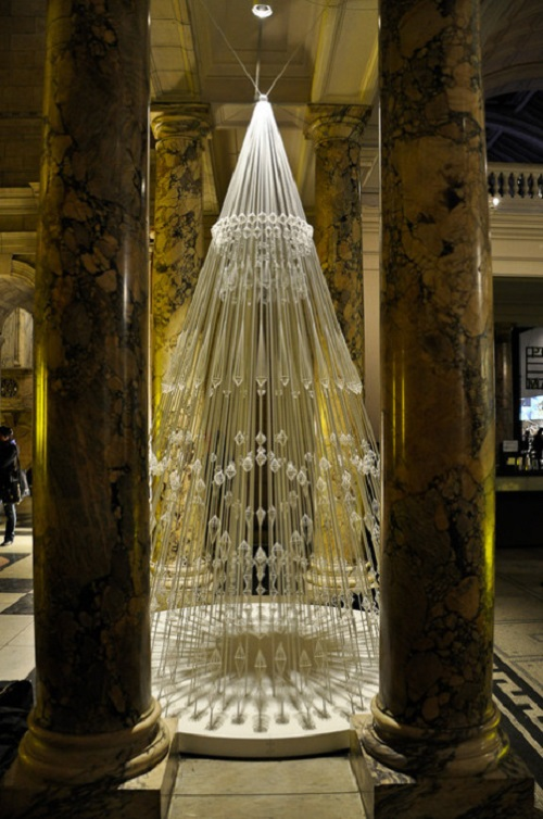 Christmas tree made of elastic cord. The Victoria and Albert Museum, London