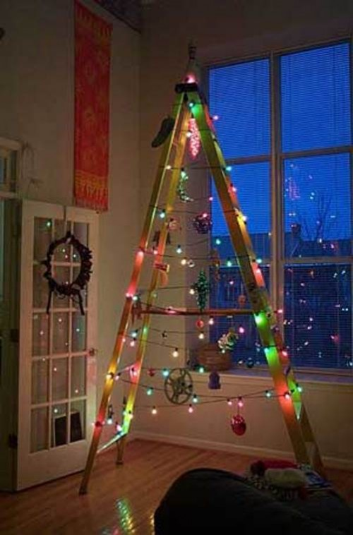 Christmas trees made from ladders