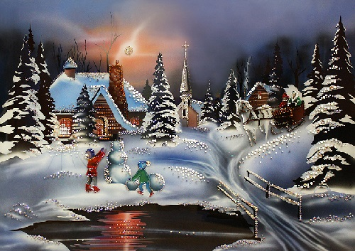 Christmas. Painting decorated with Swarovski crystals