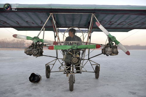Weird Inventions Made by the Chinese. Ding Shilu, an automobile mechanic, sits in his self-made aircraft