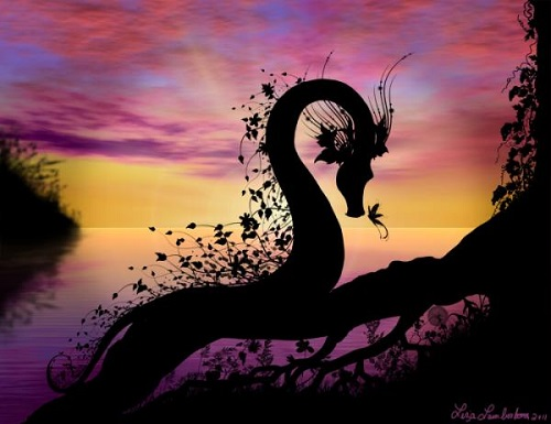 Earth dragon. Fantasy silhouettes and Paintings by American artist Liza Lambertini