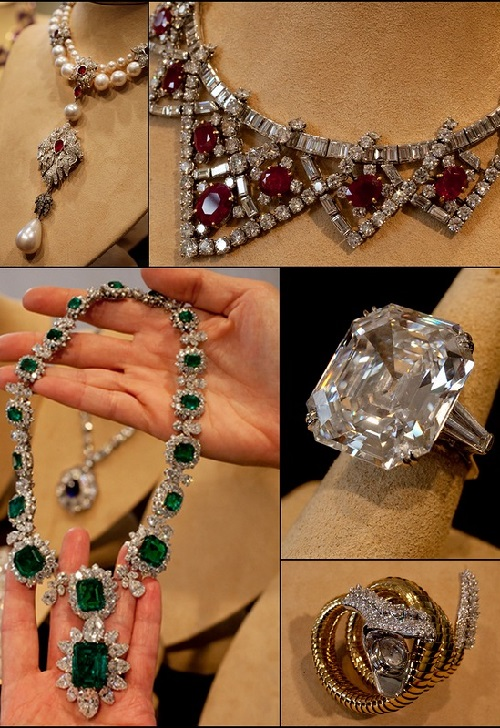 Elizabeth Taylor's jewelry public exhibition  in GUM on Moscow's Red Square, on September 14, 2011