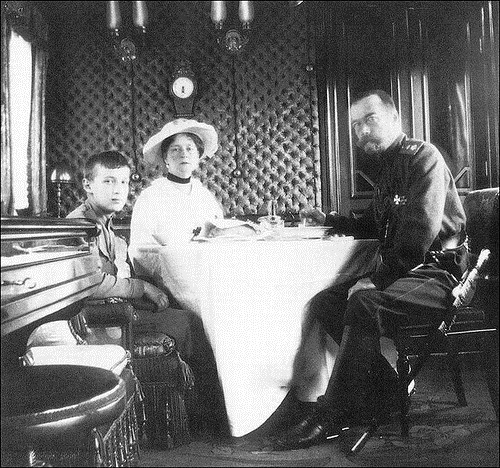 Emperor Nicholas II with his wife and son. Russian Emperors train