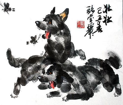 Fingerprint paintings by Zhang Baohuang