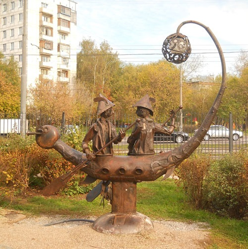 Gemini. Zodiac sculpture made by Moscow sculptor Andrey Aseryants