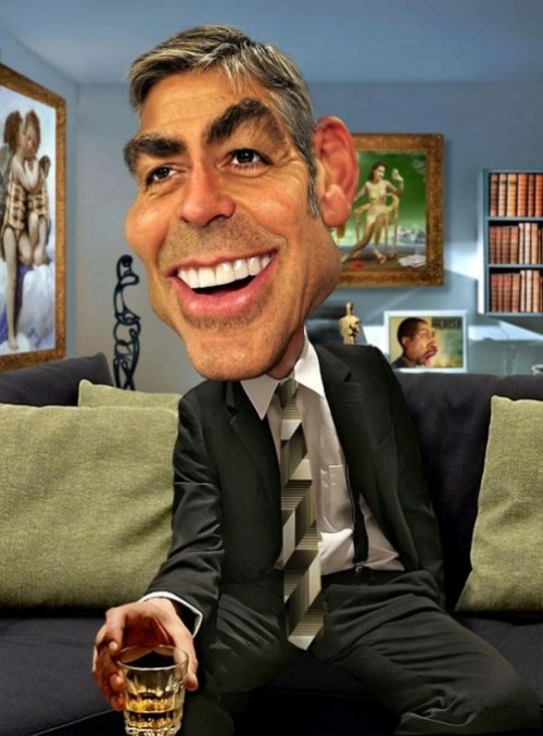 George Clooney. Caricatures by American artist Rodney Pike