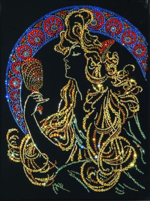 Girl with a mirror. Painting decorated with Swarovski crystals