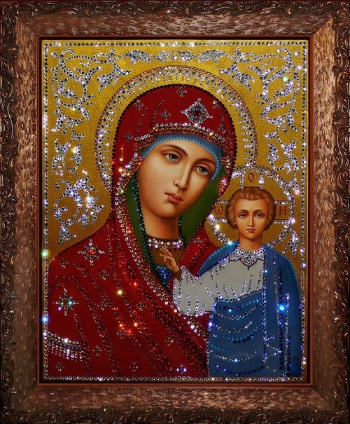 God mother. Painting decorated with Swarovski crystals