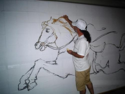 Horse. World's Largest Toothpick Mosaic dedicated to Antonio Gaudi