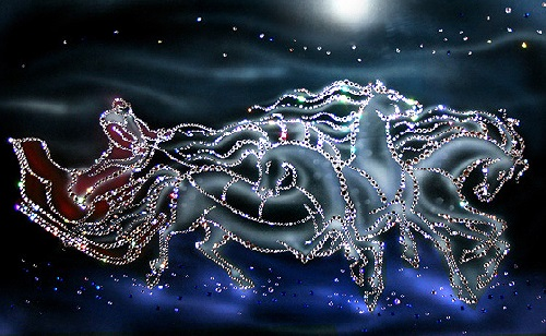 Horses. Painting decorated with Swarovski crystals