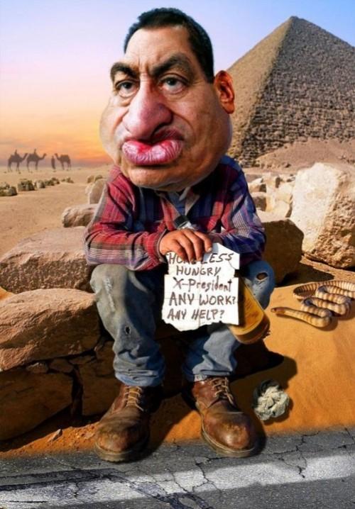 Hosni Mubarak job hunting. Caricatures by Rodney Pike