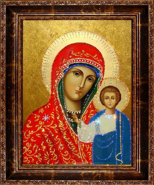 Icon of Kazan Mother of God. Painting decorated with Swarovski crystals