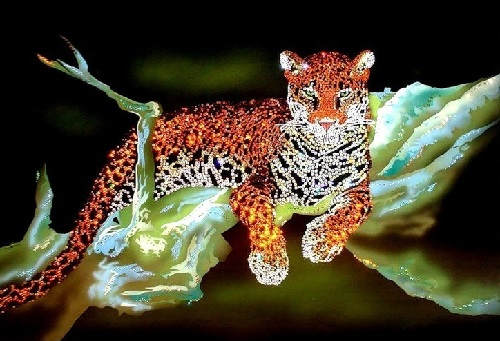 Jaguar. Painting decorated with Swarovski crystals
