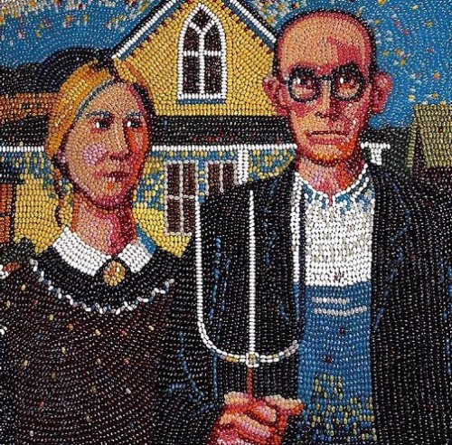 Jelly Beans mosaic on American Gothic