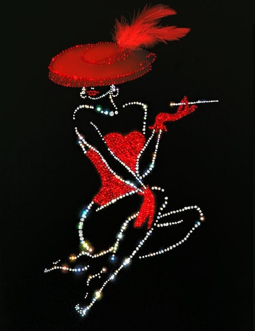 Lady in red. Painting decorated with Swarovski crystals