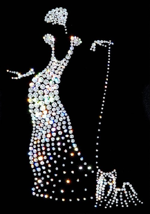 Lady with a dog. Painting decorated with Swarovski crystals