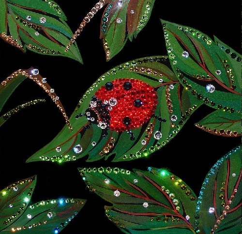 Leaves. Painting decorated with Swarovski crystals