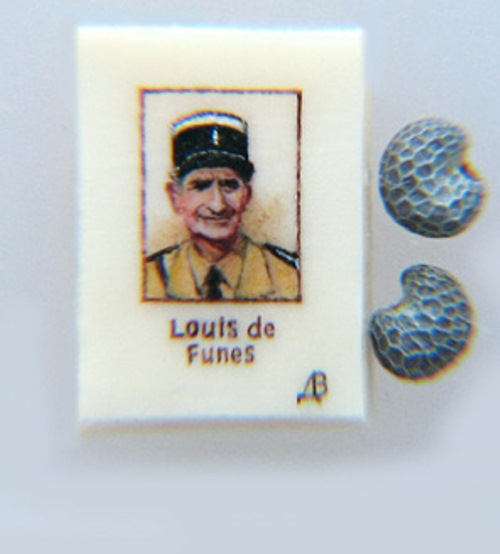 Louis de Funès. Paintings on poppy seeds by Valery Dvoryanov