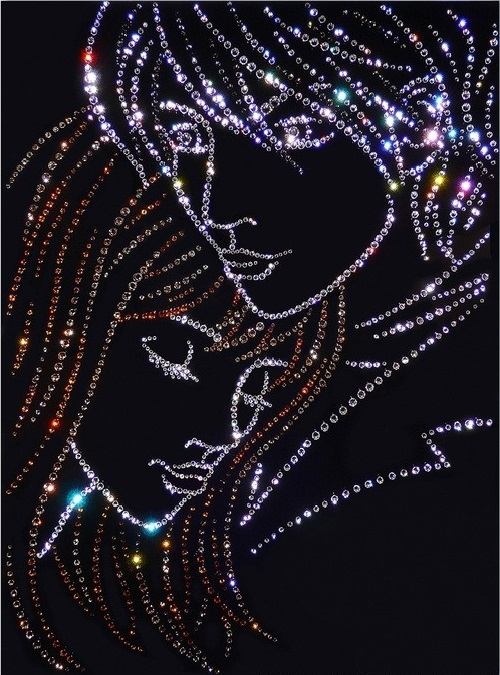 Love. Painting decorated with Swarovski crystals