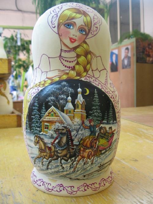 Traditional Matryoshka dolls by Russian artist of applied art Maria Vetoshkina