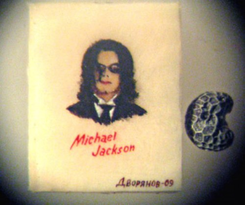 Michael Jackson. Paintings on poppy seeds by Valery Dvoryanov