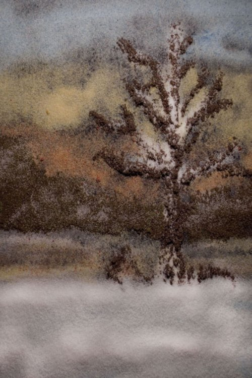 Misty Morning. Painting with Salts and Spices by photographer Kelly McCollam