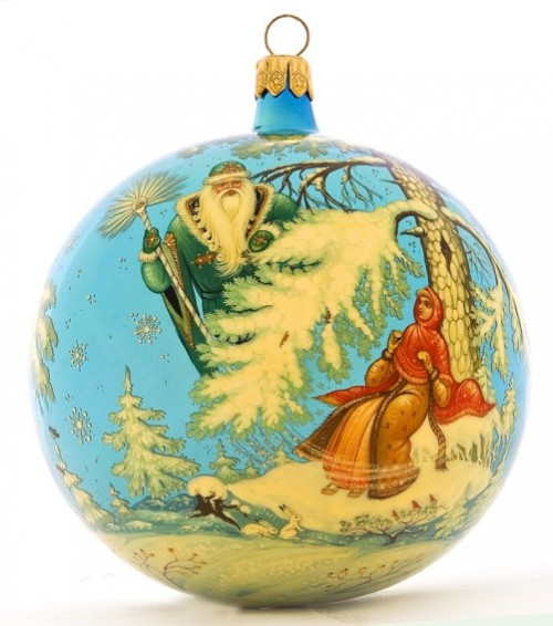 Glass Christmas tree balls of Village Holuy, Lacquer miniature painting by Morozov art studio, Ivanovo region, Russia